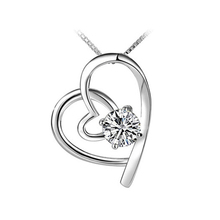 11.11 Wholesale Fashion 925 Heart Imitation Diamonds Sterling Silver Heart Pendant Necklace   CY11