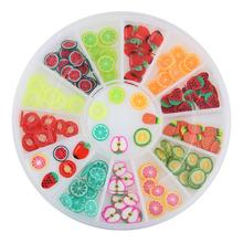 Polymer Clay 12 Kinds Of Fruit Cherry Watermelon Strawberry Fimo 3D Nail Art Decorations Glitter DIY Charm Nails Tools ZP127(China)