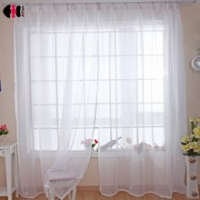 White Sheer Solid Voile Curtains Translucidus Modern Wedding Home Window Decoration for Living Room WP184C(China)