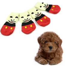 Indoor Pet Dog Warm Sock Soft Cotton Anti-slip Knit Weave Skid Bottom 4Pcs Dog Shoes