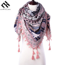 Evrfelan Winter Scarf Fashion Tassel Square Women's Scarves Printed Wraps Women Blanket Scarf Female Scarves and Shawls(China)