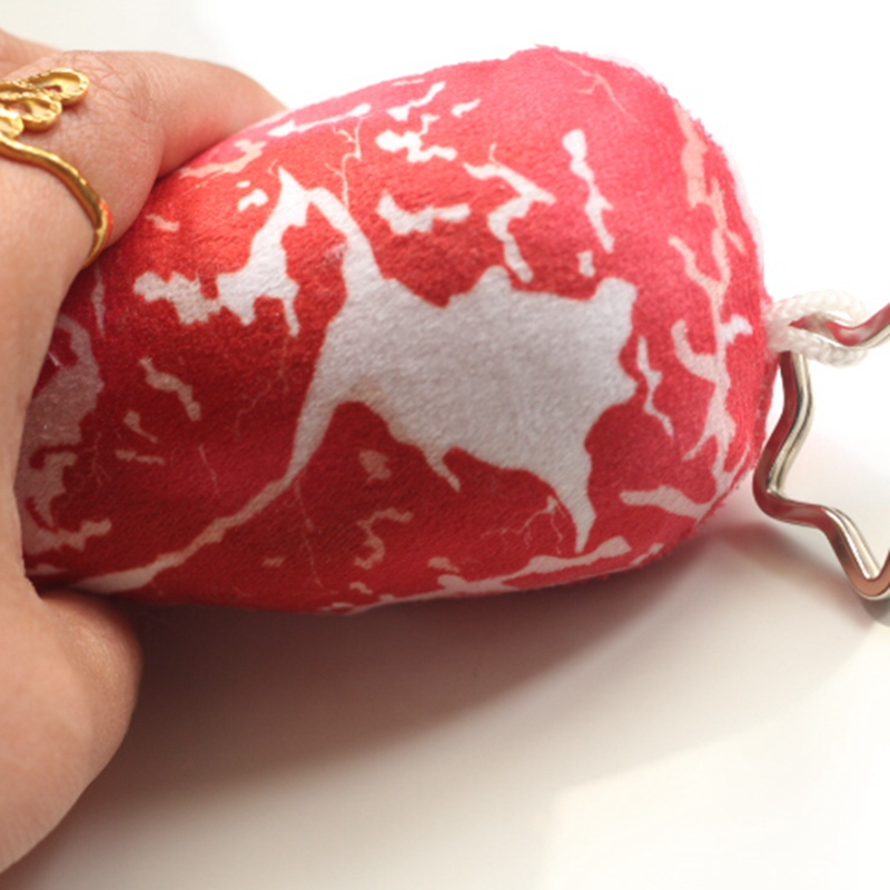 Simulation 3D meat Plush toys meat shape keychain creative pork key ring birthday gift for friends(China (Mainland))