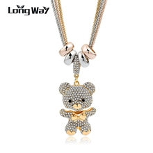 LongWay Gold Color Long Crystal Bear Pendant Necklace For Women 2017 New Design Necklace & Pendant Trendy Jewelry SNE140166(China)