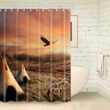 South American Indian Tent Shower Curtain %100 Polyester Fabric Mildew-Resistant Wild Animals Eagle Dogs Autumn Landscape