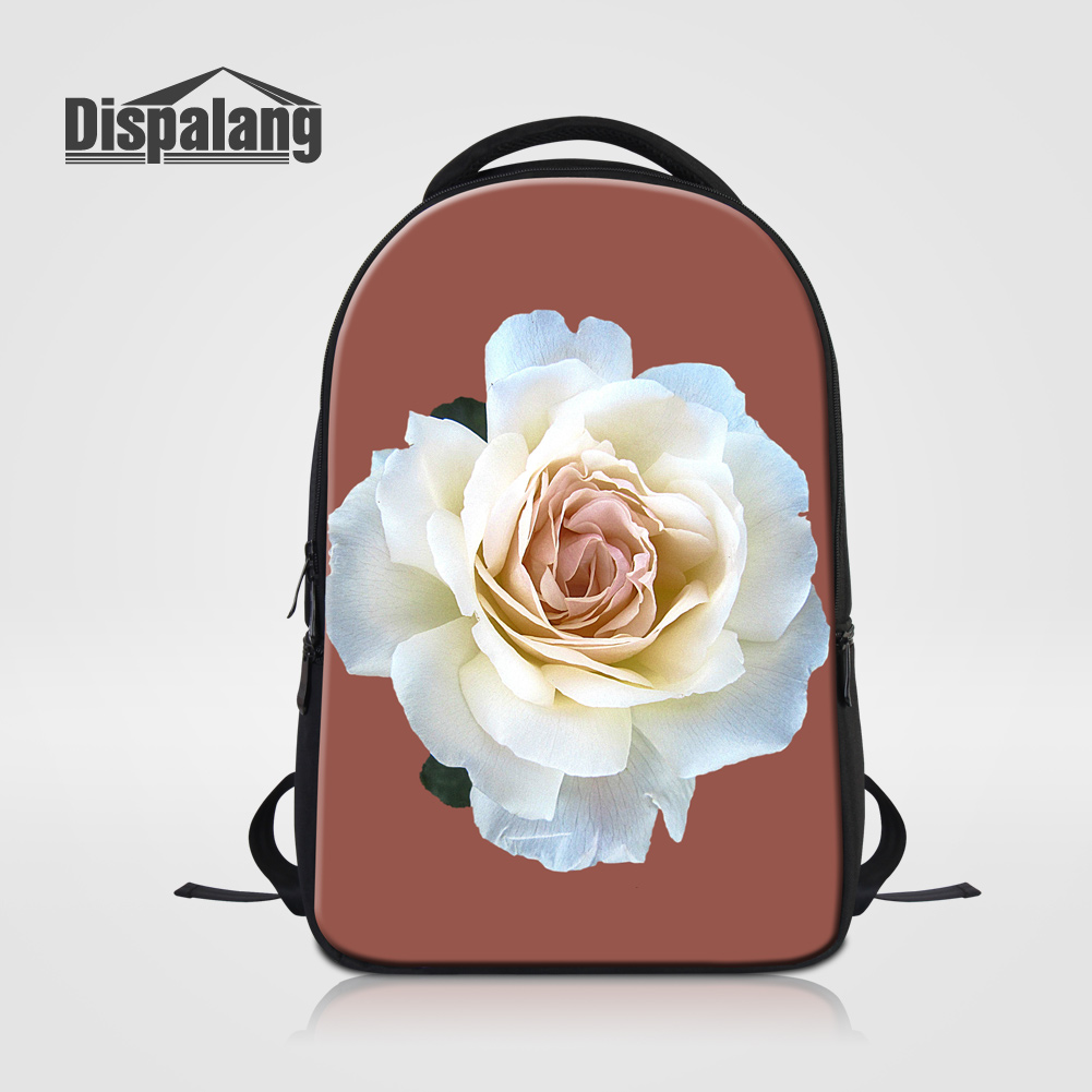 Dispalang Female Laptop Backpack For College Students Flower Print Womens Travel Shoulder Bags Floral School Book Bag For Girls<br>
