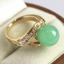 cute lady's 18KGP with crystal decorated &12mm light green  jades  ring(#7 8 9 10)