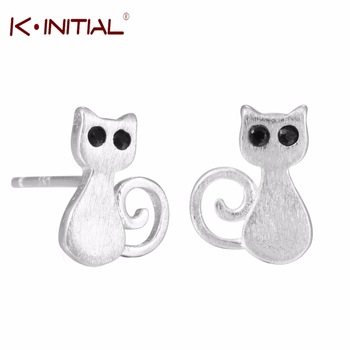 1Pcs Korean 925 Silver Cute Lovely Cat Earrings Jewelry Animal Kitty Stud Earring for women Anti-Allergic Piercing Studs Earring