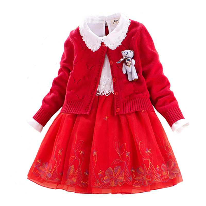 Children Sets Girls Winter Sweater Coat Kids Cotton Embroidered Dress with Cartoon Doll Decoration Princess Suit 2pcs for 4y-8y<br>