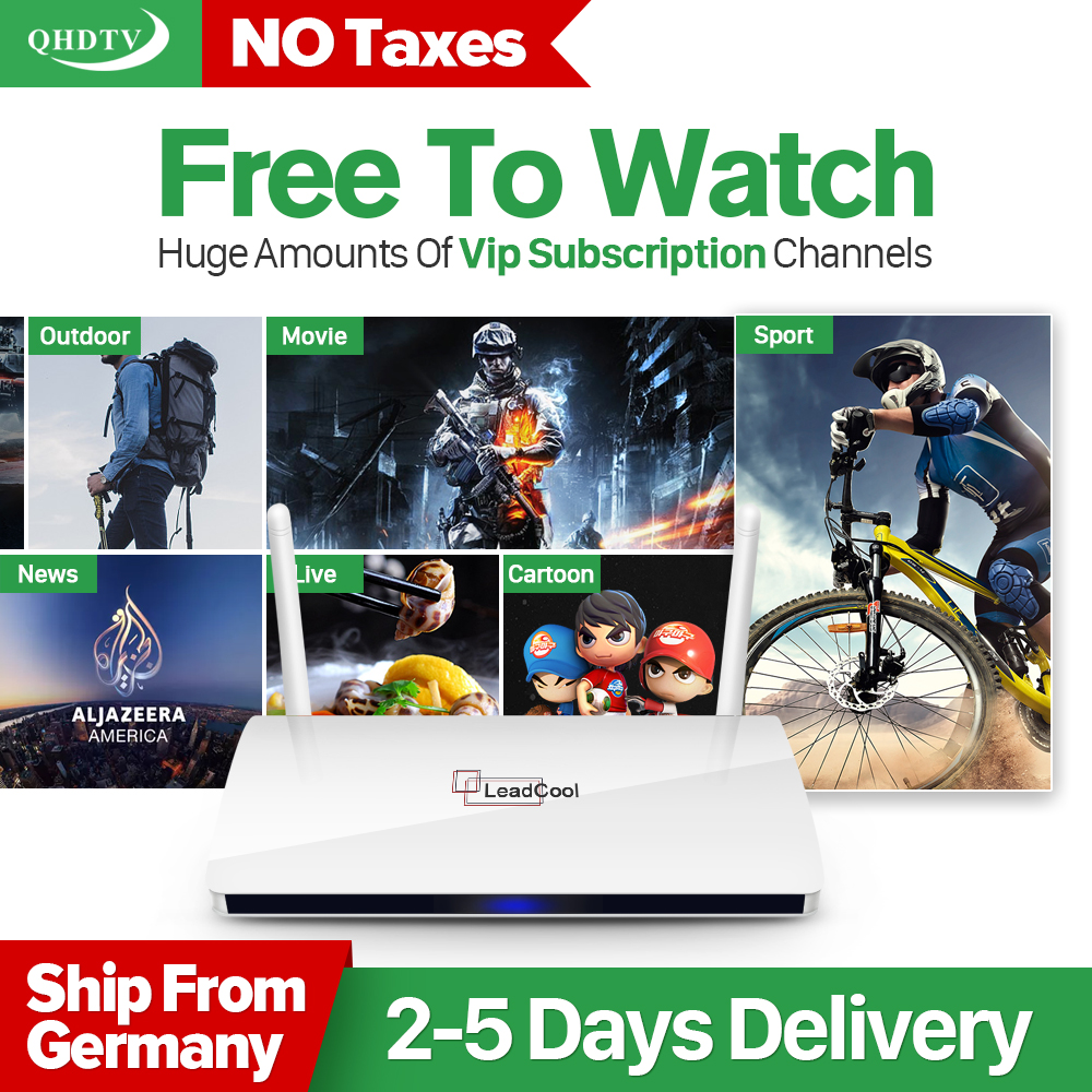 Hot Sale Leadcool Android Smart TV Box 1GB 8GB 1 Year Arabic IPTV French Europe abonnement 1200+Channels QHDTV media player