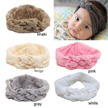 New BabyHeadband, BabyTurban Lace Flower Headband,Knitting Cross Knot Headband Head Wrap(China)