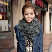 Fashion Women Ladies Knitted Crochet Snood Scarf Shawl Cowl Neck Warmer Circle Tube(China)