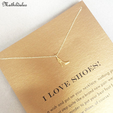 I Love Shoes High Heel Necklace S925 Silver Pendant Necklace Clavicle Gold Color Statement Necklace Women Jewelry RS011(China)