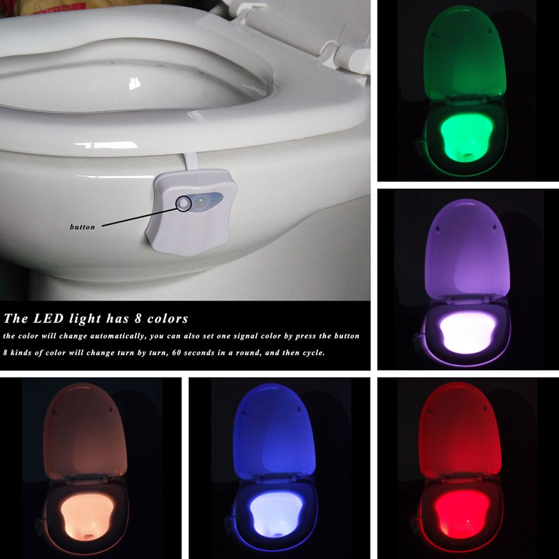 led night light luminaria night lamps lamparas lampe toilet light Colorful Motion Sensor Automatic Toilet Hanging Light(China (Mainland))