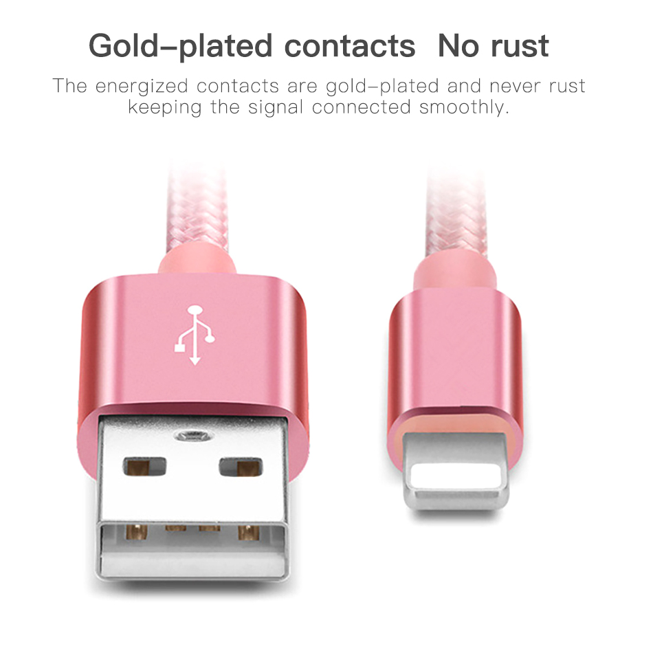 !ACCEZZ Nylon USB Charger Cable 2A For iPhone XR XS Max 7 8 6 6S 5S Ipad Mini Lighting Mobile Phone Data Fast Charge Cables Cord (8)
