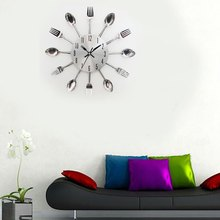 3D Digital Stainless Steel Knife Fork Modern Design Wall Clock Large Kitchen Wall Watch Clocks Quartz For Home Office Decoration
