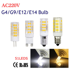 G4 G9 E12 E14 Led Bulb Light 51LEDS 220V 5W Corn Bulb SMD2835 Ceramics Candle lamps For Crystal Chandelier Lighting White/WW(China)
