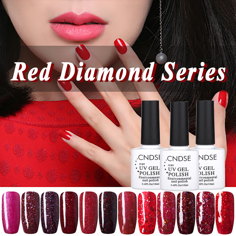 10ml UV Gel Nail Polish Red Diamond Series UV Lamp Soak off Gel Polish Gel Lak Vernis Semi Permanent Gelpolish(China (Mainland))