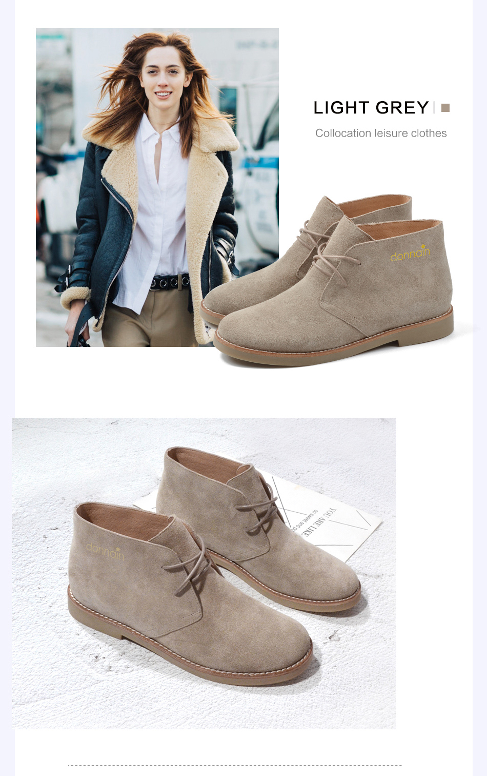 Donna-in Fashion Martin Boots Women Adult Autumn Spring 2019 Ankle Boots Suede Leather Lace-up Casual Low Heel Shoes Women (17)