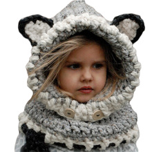 2017 Coif 3D Animal Hat with Ear Knitted Caps Fox Headwear Winter Boy Girl Hats Children Warm Knitted Hooded Scarf Cap Kid Gifts(China)