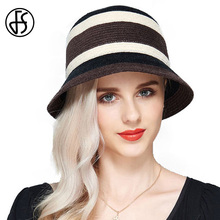 FS Female Winter Fashion Brown Black Striped Splice Color Dome Floppy Summer Fedora Hat For Woman Beach Sun Hats With Big Heads(China)