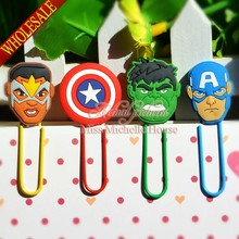 4PCS The Avengers Iron Man Captain America Thor Hulk Paper Clip Bookmark Promotional Jewelry Findings For Kid Party Gifts(China)