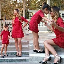 Gogoboi 2017 Mommy and me family matching mother daughter dresses clothes mom and daughter dress kids parent child outfits(China)