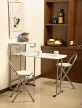 Japanese Style free-installation doulbe Eat desk and chair, density board folding table folded seat 1 table+ 2 chairs(China)