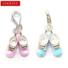 Blue And Pink Baby Shoes Charms Pendant Thomas Style DIY Fashion Jewelry Accessories Club Fit Bracelets & Bag Ts Christmas Gift
