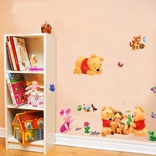 Winnie the pooh wall stickers decorative cheap removable children bedroom baby room wall decals 3d kids room wallpaper