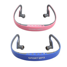 Sport Headset Wireless Earphones Headphone for Music MP3 Player with TF Card FM Radio Function Blue/Pink
