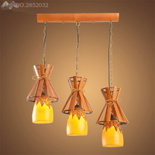 LFH Nordic countryside Creative Bamboo pendant lamp European vintage Resin lampsgade hanging Light for restaurant Cafe Bar decor