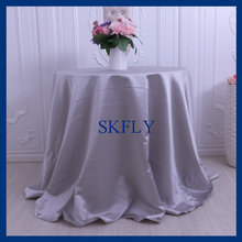 CL053E good quality many colors available cheap round grey thick satin wedding table cloth(China)