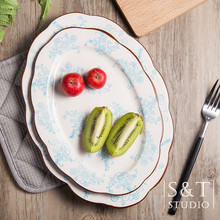 Two Color Three Size Chinese Style Olate Oval Plate Circular Dishes Luxury Noble Plate Breakfast Steak Plates Dishes-043(China)