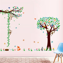3 styles modern cartoon children height Measure wall stickers green tree Vines branches monkey bird butterfly flower home decor