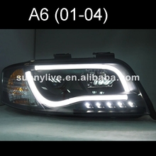For Audi A6 LED Strip head lamp 2002 - 2004 year Black Housing SN(China)