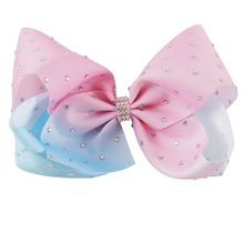 "3PCS/LOT 7""Large Pink Lt Blue Full Rhinestone Hair Bow With Clip Diamond Boutique Hairpin Hair Clip For Girls Hair Accessories()"