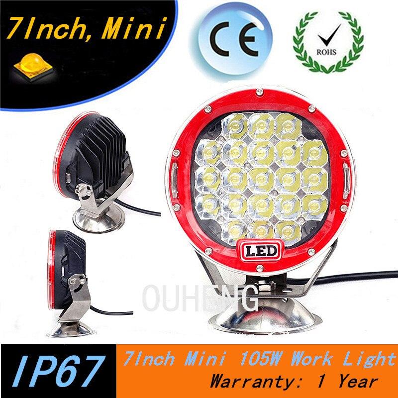 New Product Mini 105W led work light 7inch  round led driving light ,led off road light  for SUV,ATV,UTV,4X4 use 9450LM<br><br>Aliexpress
