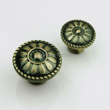 free shipping furniture handle knob Antique European Round zinc alloy handle Shoe pull cabinet drawer door handel hardware part(China)