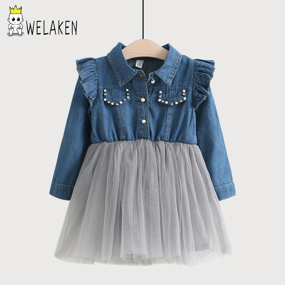 weLaken 2017 New Spring Kids Dress Fashion Children Denim Patchwork Mesh Dress with Pearls Good Quality Girls Dresses<br><br>Aliexpress