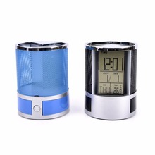 2017 New Multi-Functional with Digital LCD Office Desk Alarm Clock Practical Mesh Pencil Pen Holder(China)