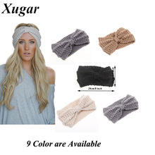 Winter New Fashion Solid Wool Warm Crochet Bow Headband For Lady Women Head Bands Knitting Headwraps Hair Accessories