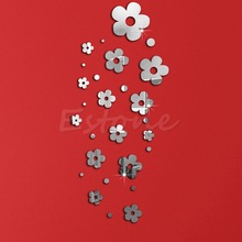 NEW Fashion Flowers  Silver Acrylic 3D Mirror Effect Wall Stickers Home Decor Stickers