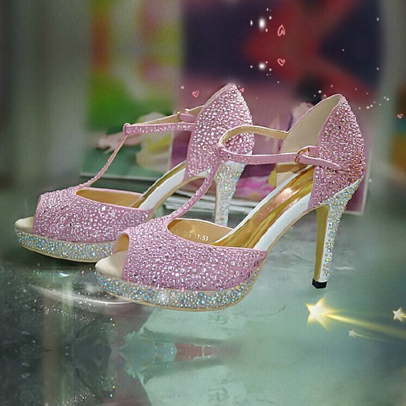 Women Pink Sexy Open Toe High Heel T-Strap Shoes Fashion Lady Dress SHoes campagus Real Leather Bridal Shoes Party Prom Sandals<br><br>Aliexpress