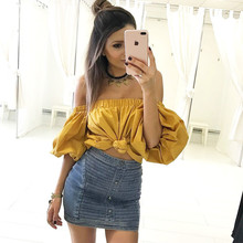 2017 Summer Fashion Women Crop Tops Dark Yellow Puff Sleeve Slash Neck Off Shoulder Lady Short Blouse(China)