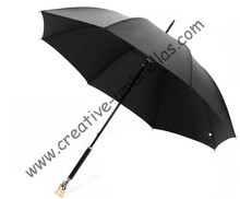 straight  golf umbrellas 10mm fiberglass shaft and 4.0mm fiberglass ribs,hand open,windproof,skeleton head,skull handle