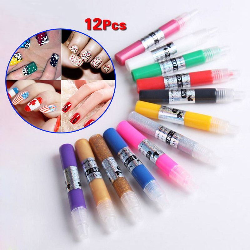 12 Colors Professional Beautiful 3D Nail Art Polish Paint Drawing Pen Acrylic DIY Nail Pen
