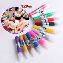 12 Colors Professional Beautiful 3D Nail Art Polish Paint Drawing Pen Acrylic DIY Nail Pen(China)