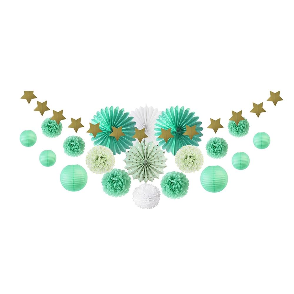 20pcs Mint Green Party Decoration Kit Paper Fans L...