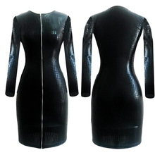 S-XXXL Women PVC Leather Dress Clothing Sexy Black Snakeskin Faux Leather Zipper Dress Summer Zipper Bodycon Dress