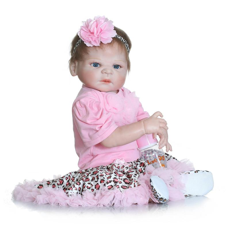58cm full silicone reborn baby doll toys gender Girl Lifelike reborn bonecas de silicone Doll Bonecas brithday Kids Xmas gifts <br><br>Aliexpress